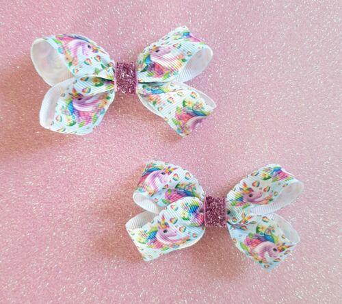 "3/"" Handmade Pair of Rainbow Unicorn Character Ribbon Hair Bow Clips or Bobbles"
