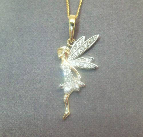 9CT HALLMARKED YELLOW GOLD PAVE SET FAIRY IN FLIGHT PENDANT CHAIN OPTIONAL