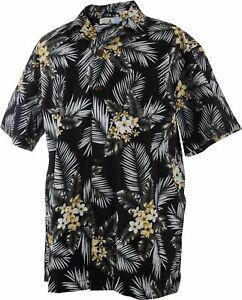 Men-Aloha-Shirt-Cruise-Luau-Hawaiian-Party-Vintage-Floral-Yellow-Black