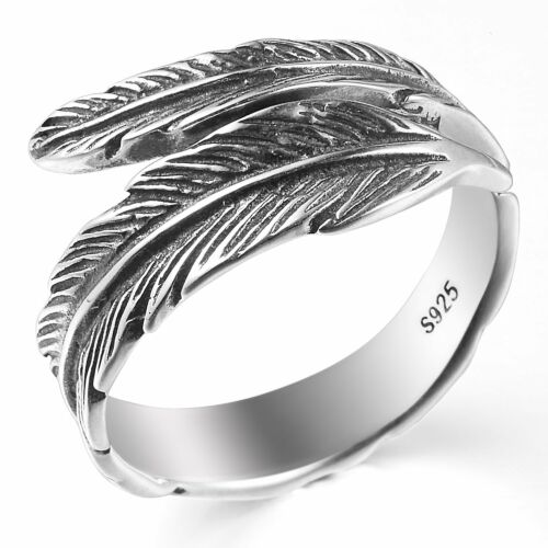 Vintage 925 Sterling Silver Angel Feather Leaf Plume Wrap Ring M O P ½ R ½ T ½
