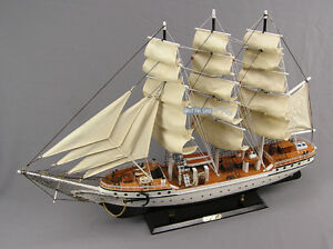 Segelboot-Segelschiff-Modell-Dreimaster-Daenemark-Maritime-Deko-Standmodell-neu