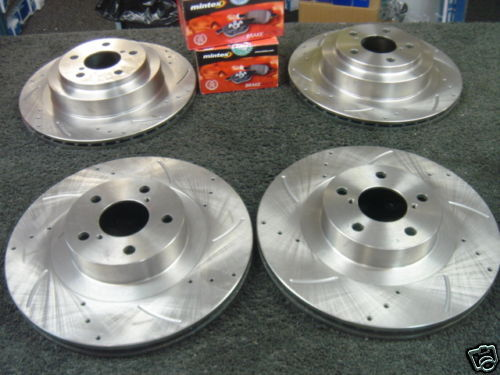 DRILLED GROOVED BRAKE DISC MINTEX PAD FITS FOR IMPREZA WRX 93-98