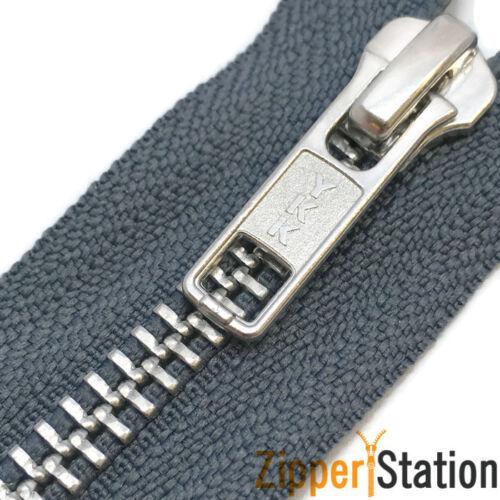 CHOICE OF ZIP LENGTH /& COLOUR YKK METAL TEETH OPEN ENDED ZIPS ZIPPERS