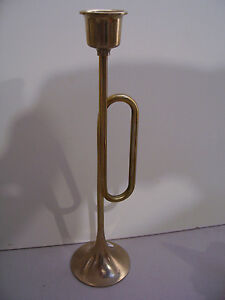 """Vintage Rare Solid Brass  9"""" Tall Candle Holder  Made In  Taiwan"""