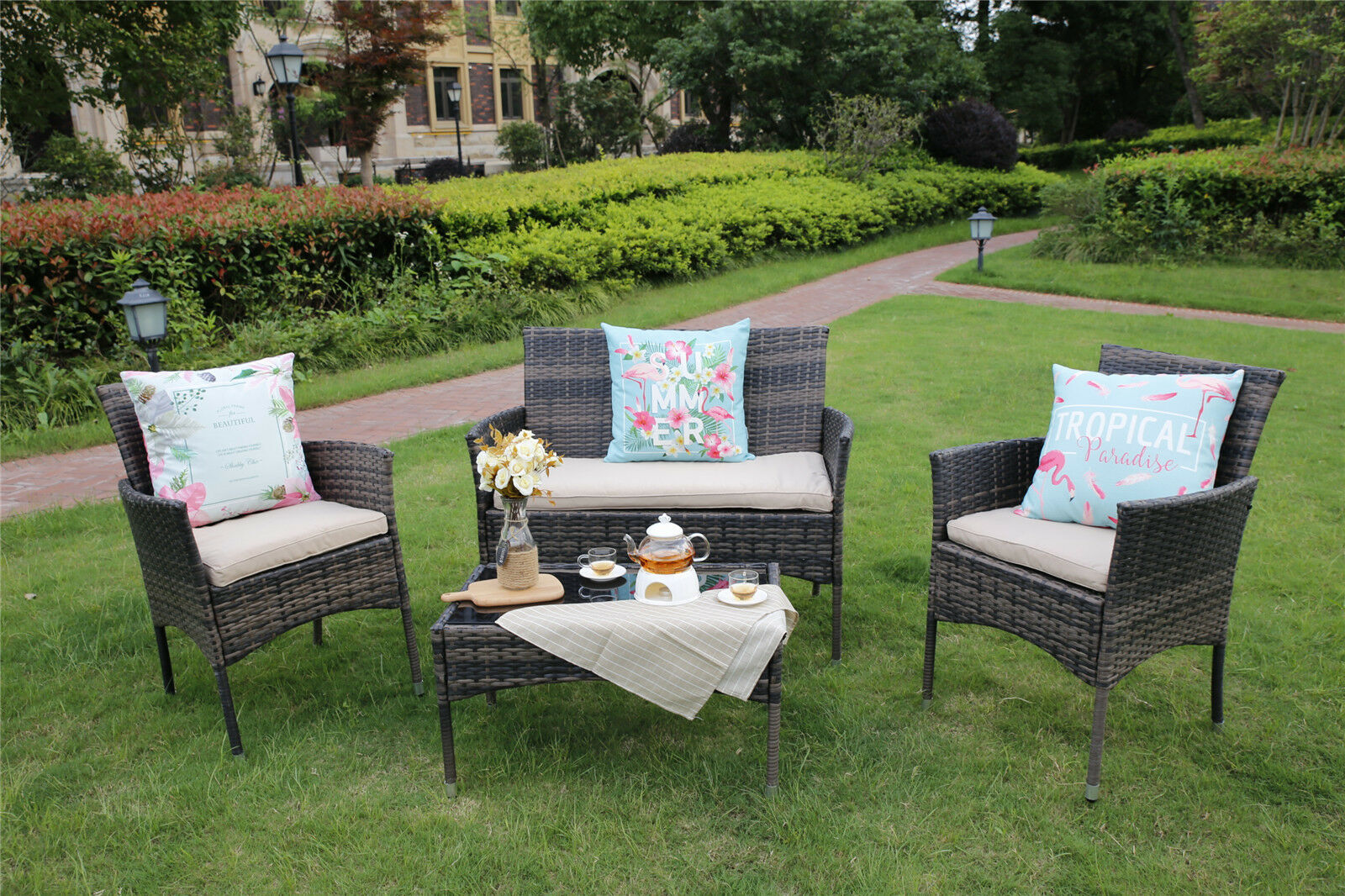 2 armchairsa two seater sofa a coffee table seat cushions small scatter cushions and decorations are not included