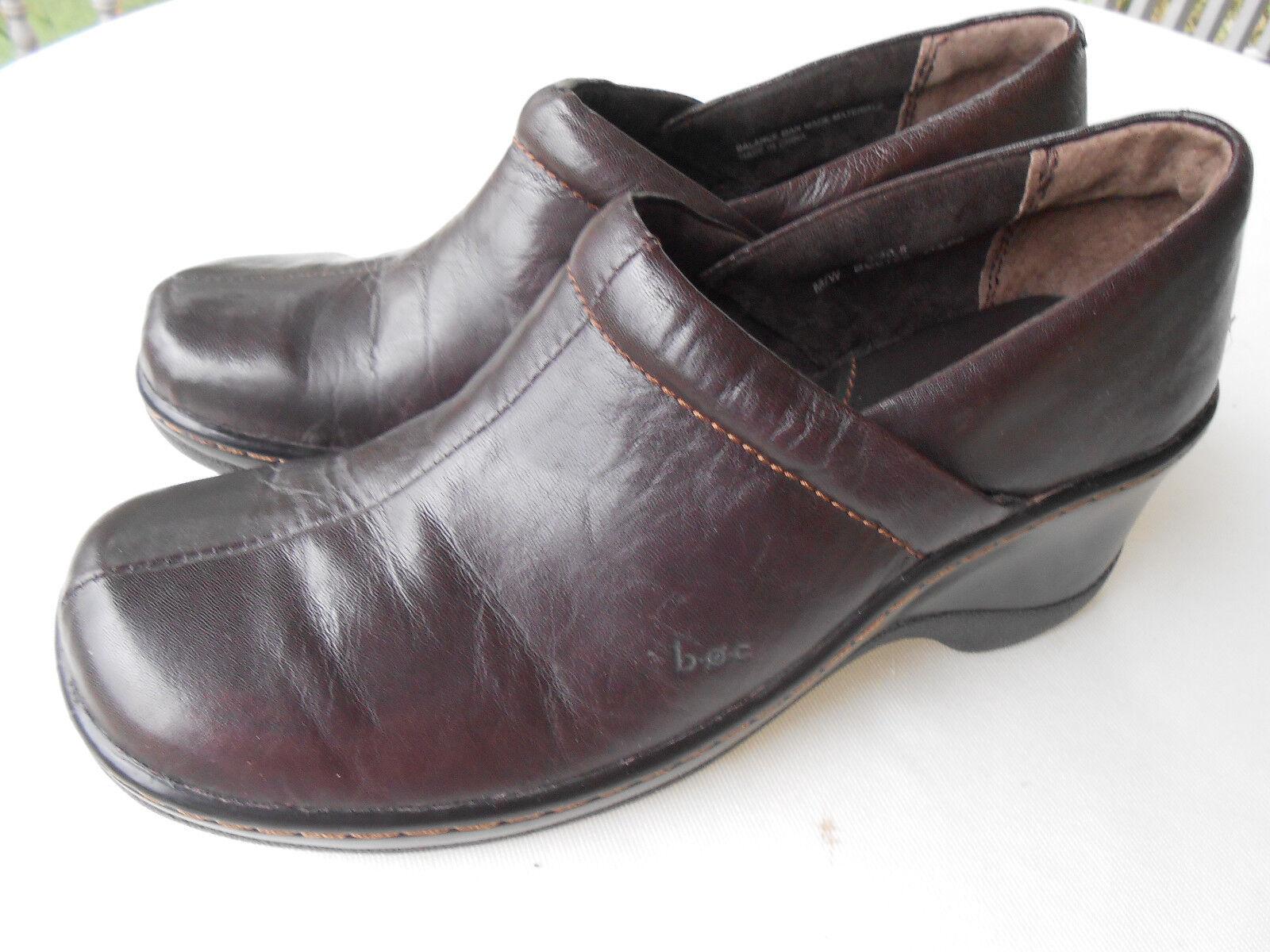 BOC brown Born Concepts women's professional brown BOC leather clogs 9/40.5  M/W 7f071e