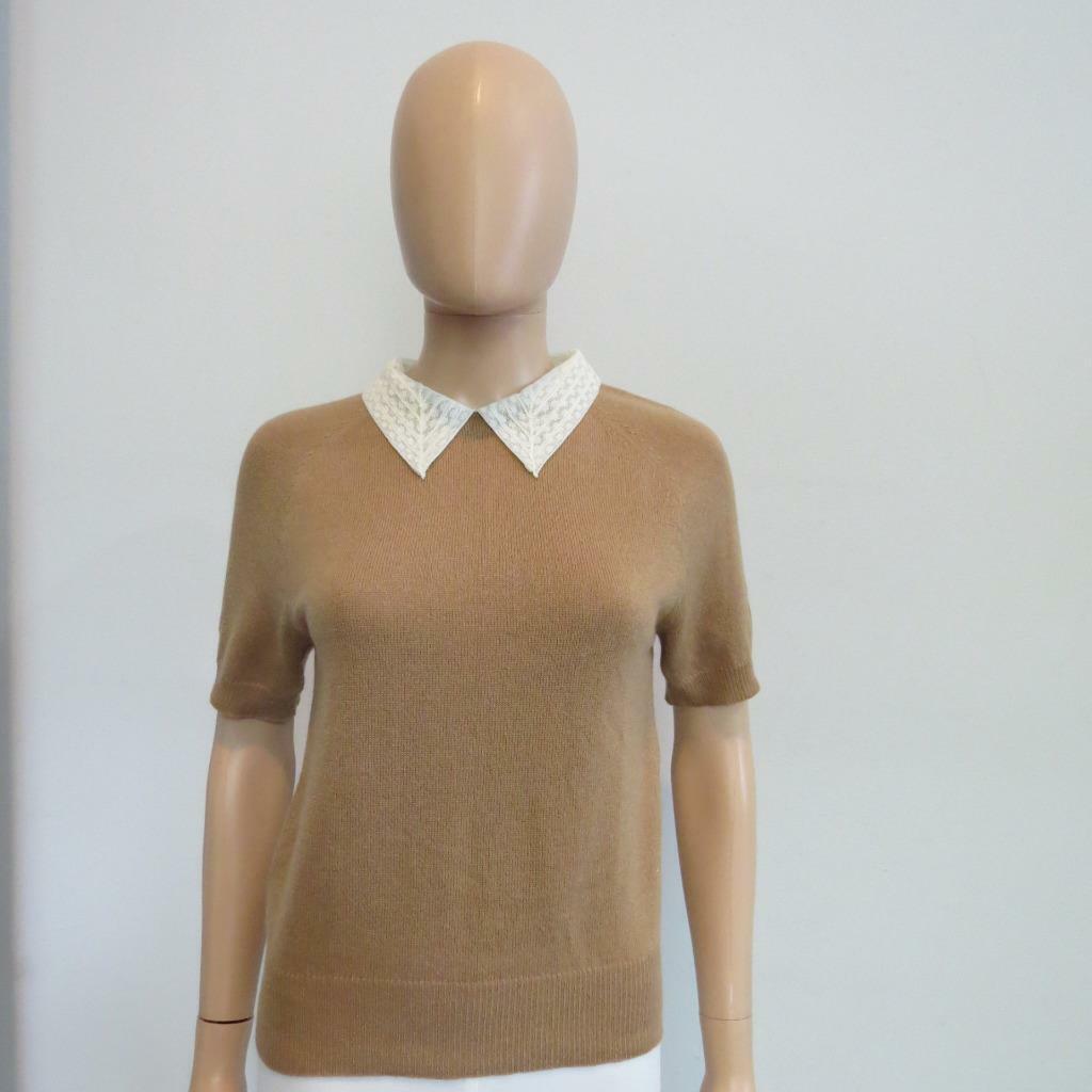 Christian Dior Beige Cashmere Ivory Lace Collar kort Sleve tröja Storlek US 6