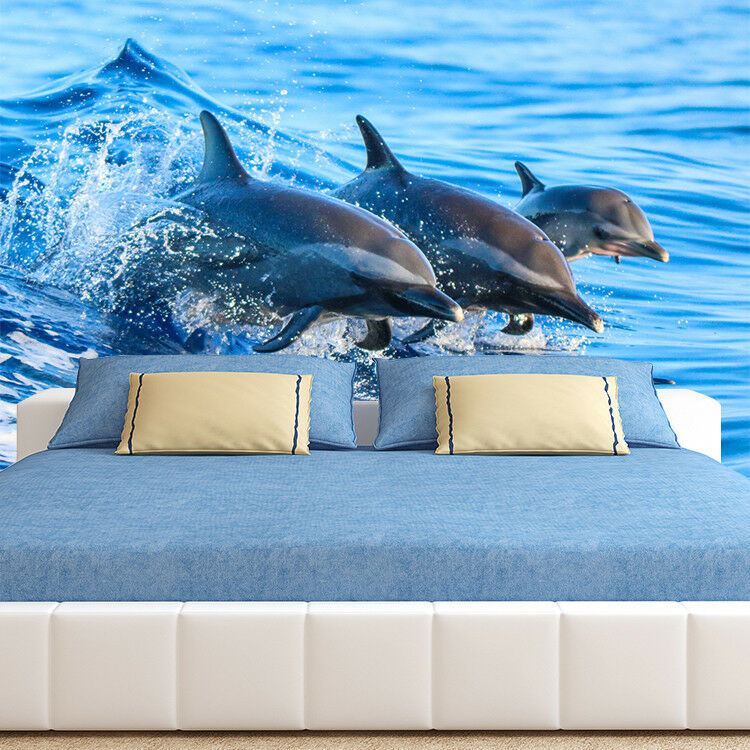 3D Jump Dolphin 50 Wallpaper Murals Wall Print Wallpaper Mural AJ WALL AU Lemon