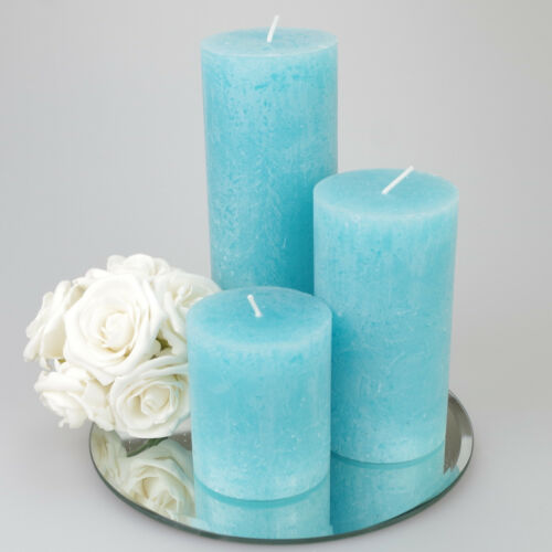 Set of 3 Rustic Pillar Candles solid colour 9 colours  Mirror Plate optional