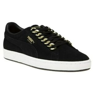3db76d48d003d New Womens Puma Black Suede Classic X Chain Trainers Court Lace Up ...
