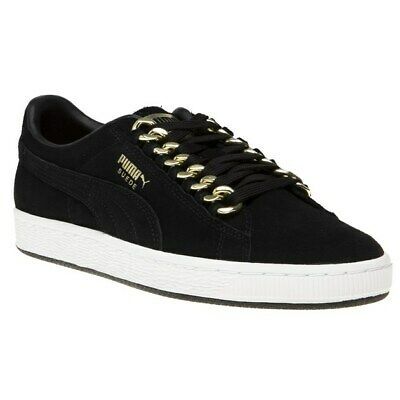 New Womens Puma Black Suede Classic X Chain Trainers Court Lace Up | eBay