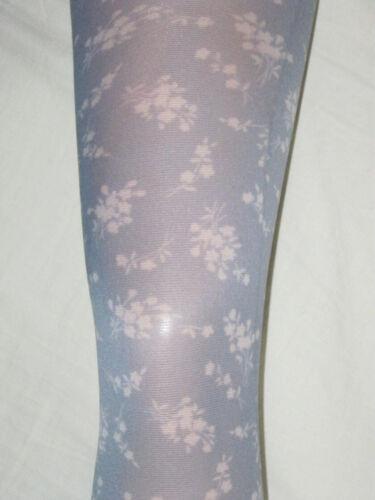 Motif Fleuri Gris Collants opaque femme 10-14 petit fleur