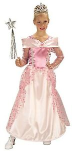 Pink-Princess-Costume-Halloween-Royal-Gown-Dress-Girls-Kids-Childrens-S-M-L