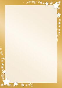 Motivpapier Weihnachten.Details Zu Motivpapier Briefpapier Weihnachten Sterne Auf Goldrahmen 20 Blatt Din A4 Winter