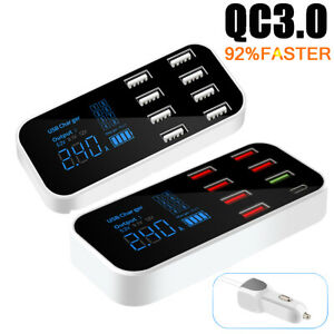 8-ports USB Car Display Charger Station Hub for iPhone Samsung QC3.0 FAST Type-C