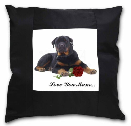 Rottweiler+Rose /'Love You Mum/' Black Border Satin Feel Cushion C AD-RW3Rlym-CSB