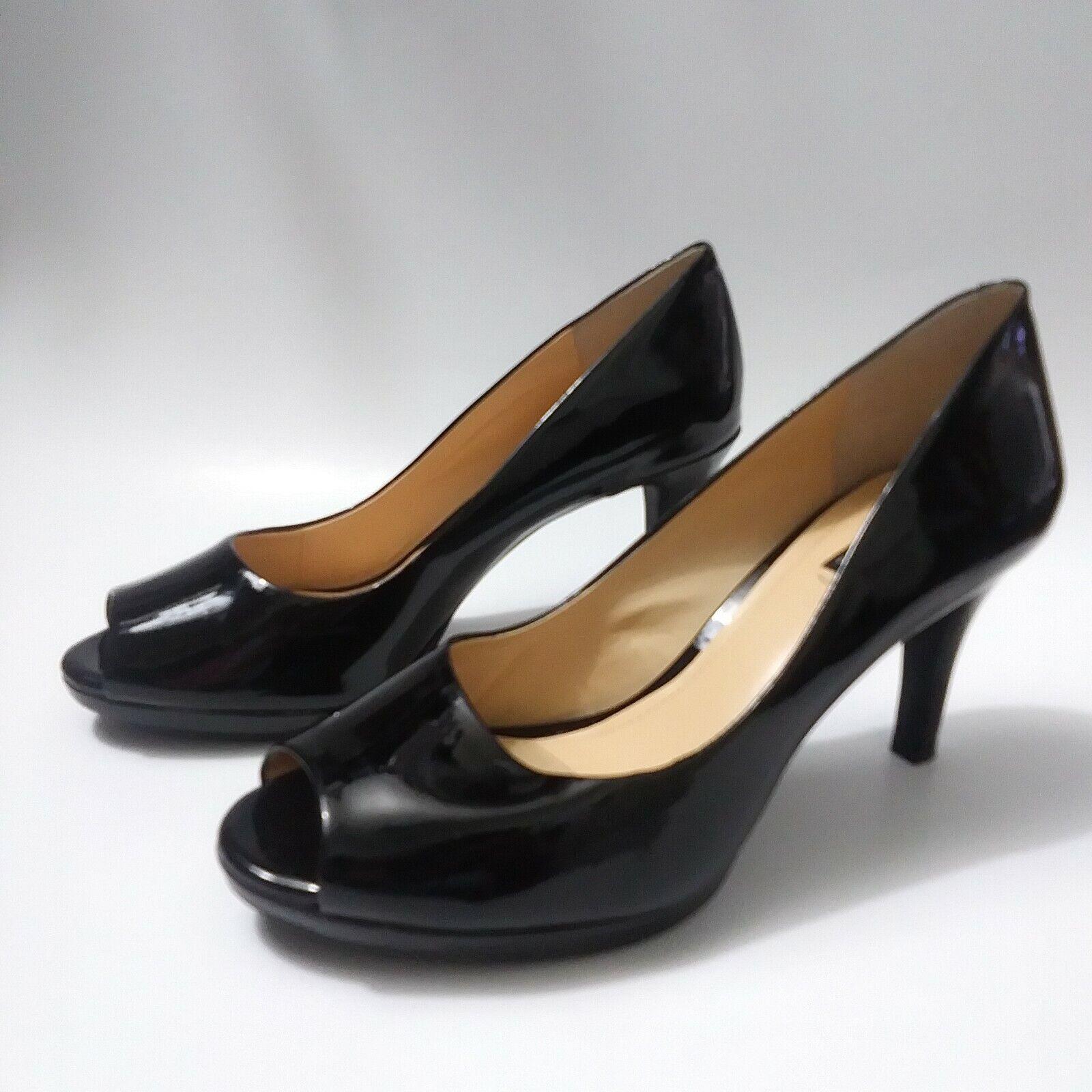 Alex Marie Black Patent Leather Peep Toe Pumps Heels Womens Size 8 M Career Wear