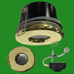 2x brass recessed ip65 led shower bathroom 12v mr16 ceiling spot down light lamp ebay. Black Bedroom Furniture Sets. Home Design Ideas