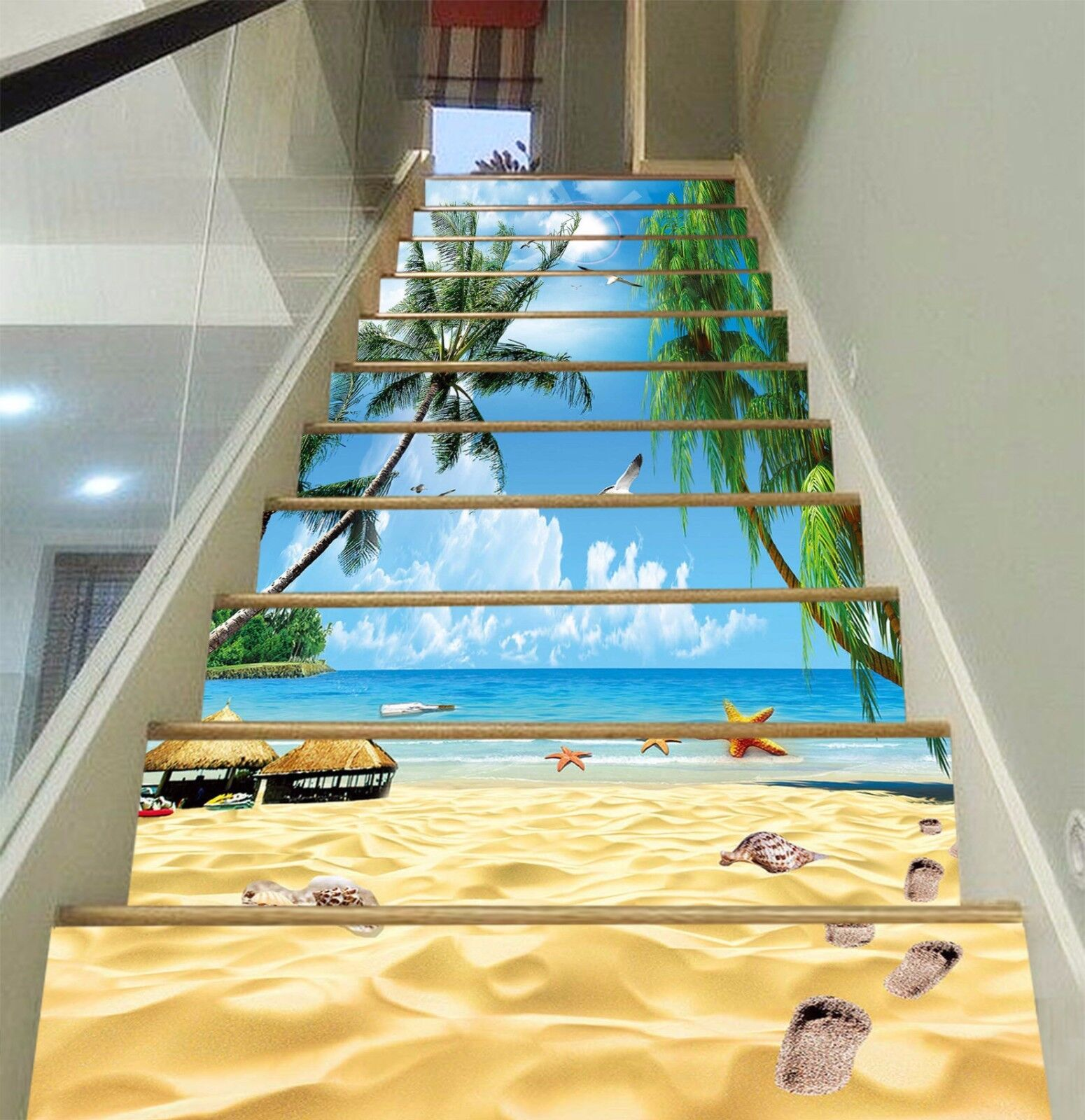 3D Beach Coconut Tree 46 Risers Decoration Photo Mural Vinyl Decal Wallpaper US