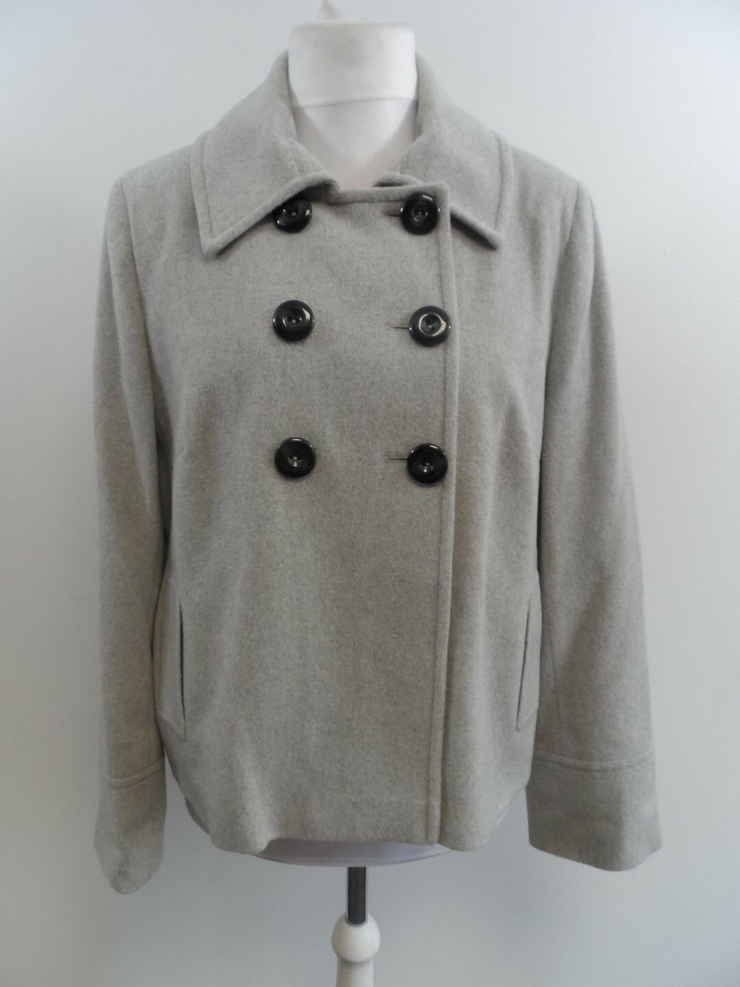 Pure Collection Cashmere Grey Double Breasted Coat Ladies Size 18 Box42 39 H