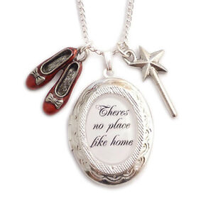 WIZARD-OF-OZ-necklace-locket-There-039-s-no-place-like-home-RUBY-red-slippers-shoes