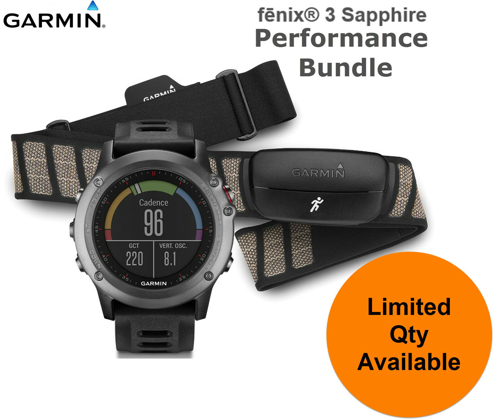 Paquete de rendimiento Garmin Fenix 3 GPS Reloj Sports Running HRM Zafiro Monitor