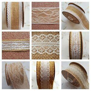Rustic-Elegant-Hessian-and-Ornate-Lace-Ribbon-1-5-yard-Wedding-Card-Craft-Sewing