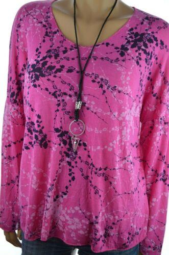 Print Shirt Pink 44 46 48 50 NEU ITALY Pullover /& Kette Feinstrick Pulli 2tlg