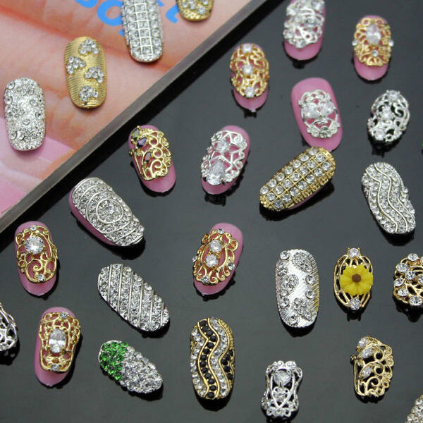 5PC Silver Gold Hollow Metal Charms 3D Rhinestone Alloy Nail art Tips Decoration