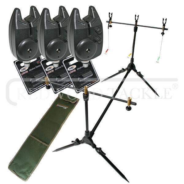 Carp Multi Rod Pod And Bite Alarms x 3 & Batteries  + Bag Fishing Angling Carp