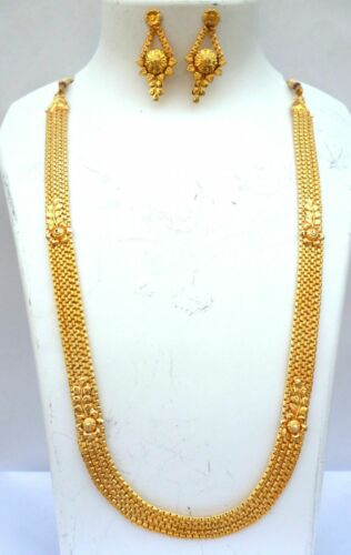 Indian 22K Gold Plated Wedding Fashionable Long Chain Necklace Earrings Set