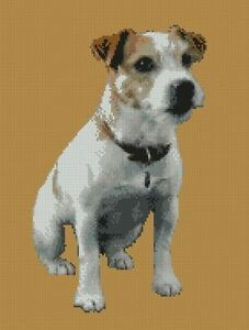 Jack Russell Chien Chiot Counted Cross Stitch Kit 10&#034; X 13&#034; D2418 Free p&amp;p 							 							</span>