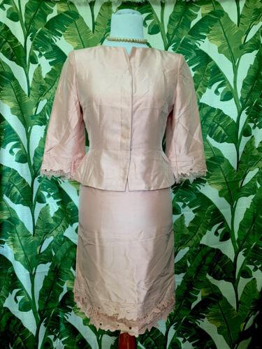 Kay Unger Silk Skirt And Blazer Suit Set In Blush