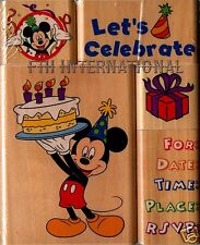 Mickey Mouse Party ~ 5 piece Disney Wood Mount Rubber Stamp Set #47560, Birthday