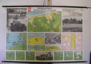 Karte Nordseeküste Niedersachsen.Details Zu Schulwandkarte Niedersachsen Nordseeküste Nordsee Küste Inseln Karte 138x95 1960