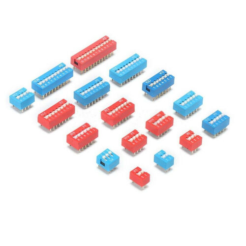 Red/&Blue 1//2//3//4//5//6//7//8//9Way Bit Position DIP DIL Toggle Switch PCB Mounting FZ