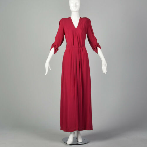 S 1940s Raspberry Pink Rayon Evening Gown Elbow Sl