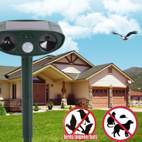 Ultrasonic Solar Cat Dog Fox Deterrent Animal Pest Chaser Repellent Repeller #w