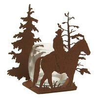 Male Horse Back Rider Rust Color Metal Candle Wrap