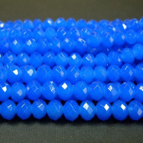 15inch-Royal Blue Quartz Glass Faceted Rondelle Beads...8x6mm..