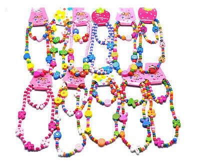 Cartoon Wooden Necklace Bracelet Children Jewelry Set Girls Kids Birthday Gift