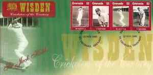 WISDEN-2000-CRICKET-SIR-JACK-HOBBS-GRENADA-Set-of-4-values-FIRST-DAY-COVER