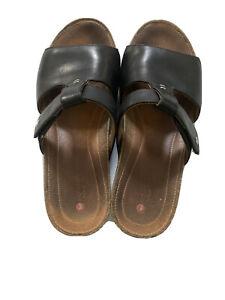 Clarks-Unstructured-Women-T-Strap-Wedge-Slide-Sandals-US-7-5-M-Black-Leather
