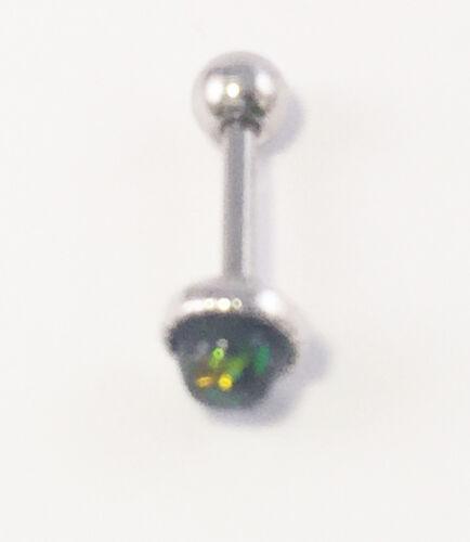 316L redondo pequeño ópalo sintético de acero quirúrgico 1.2 X 6mm Barra del Tragus Hélice Barra