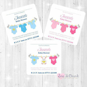 Personalised baby shower invites blue pink vest clothes line boy image is loading personalised baby shower invites blue pink vest clothes filmwisefo