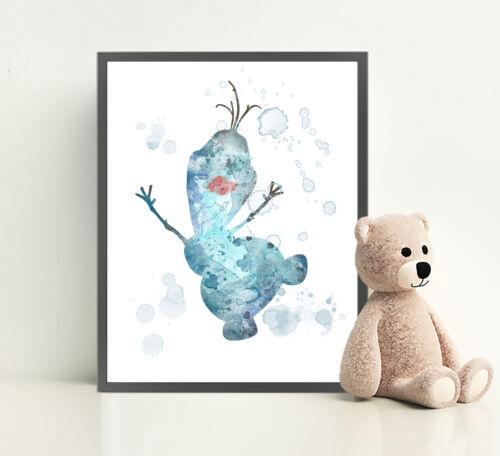 FROZEN OLAF Disney Print Poster Watercolor Framed Canvas Wall Art Nursery