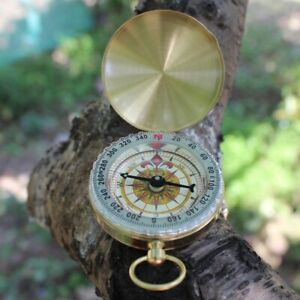 Brass-Dalvey-Style-Compass-with-Lid-Old-Vintage-Nautical-Pocket-Necklace-Sport
