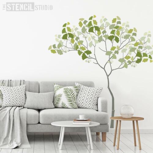 Nursery Tree Mural Stencil Pack-Réutilisable Triangle Arbre avec Ginko Pochoir Pack