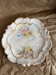 AL Limoges France Porcelain Hand Painted Plate Floral & Gilded Scalloped Edge