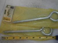 Stanley V8414 Lag Eye Bolts 3/8 X 8 Long Steel Lot Of 2 5421